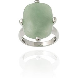 Glitzy Rocks Sterling Silver Rectangular Green Jade Ring