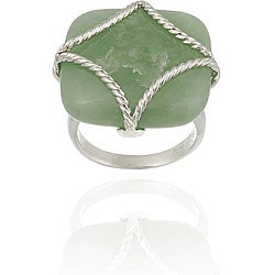 Glitzy Rocks Sterling Silver Square Green Jade Braided Design Ring