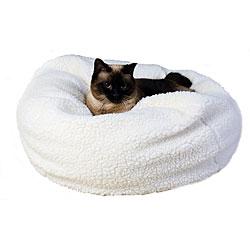 Natural Sherpa Puff Ball 18-inch Pet Bed w/Zipper Cover