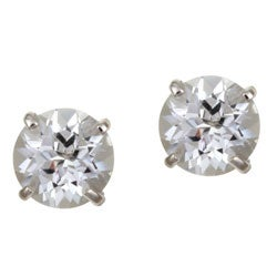 Kabella 14k White Gold Round White Topaz Stud Earrings