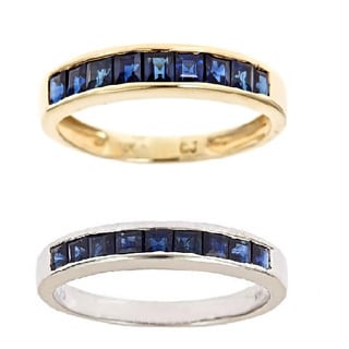 D'Yach 14K White Gold Channel-set Blue Sapphire Ring