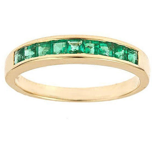 D'Yach 14K Yellow Gold Channel-set Emerald Ring