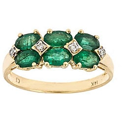 D'Yach 14K Yellow Gold Emerald and Diamond Ring (I-J)