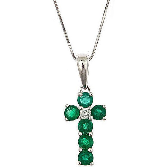 D'Yach 14K White Gold Emerald and Diamond Cross Pendant