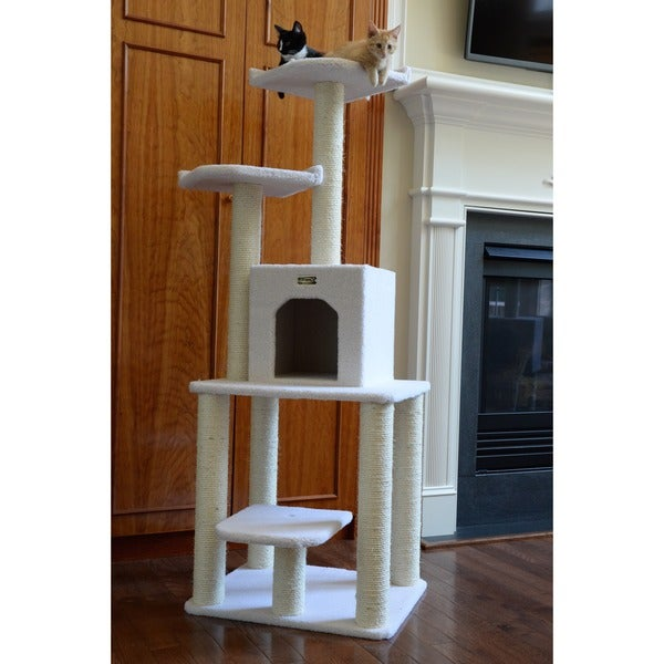Armarkat Ivory Faux Fleece 62-inch Cat Tree House Condo Furniture