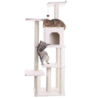 Armarkat Classical Ivory Faux Fleece Wooden Cat Tree Gym Furniture