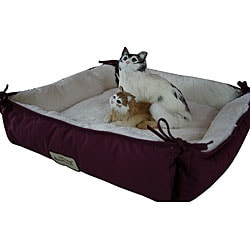 Armarkat Canvas and Plush 16-inch Square Burgundy and Ivory Pet Bed