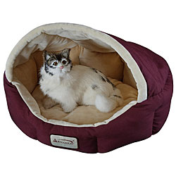 Armarkat 18-inch Burgundy and Beige Waterproof Skid Free Base Pet Bed