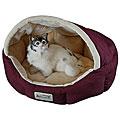 Armarkat 18-inch Burgundy and Beige Waterproof Skid Free Base Pet Bed
