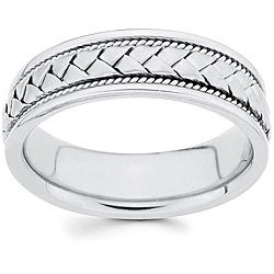 14k White Gold 6 mm Hand-braided Comfort-fit Wedding Band