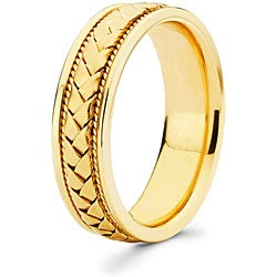 14k Yellow Gold 6 mm Hand-braided Comfort-fit Wedding Band