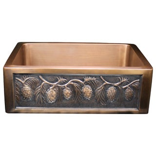 Handmade Pinecone Apron Motif 30-inch Copper Farmhouse Sink