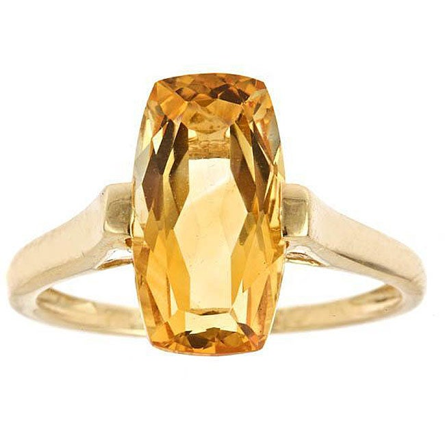 Anika and August 14k Yellow Gold Cushion-cut Citrine Ring