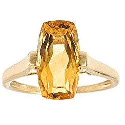 Anika and August D'Yach 14k Yellow Gold Cushion-cut Citrine Ring
