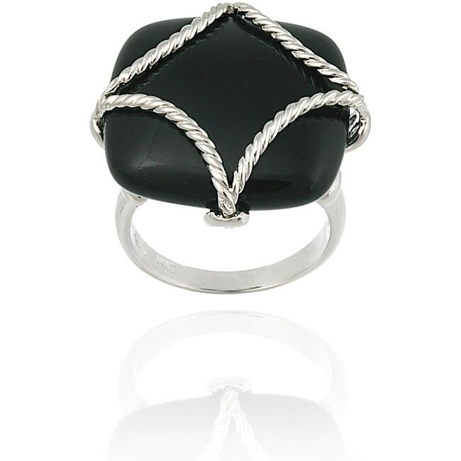 Glitzy Rocks Sterling Silver Square Onyx Braided Design Ring
