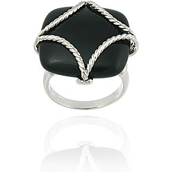 Glitzy Rocks Sterling Silver Square Onyx Braided Design Ring