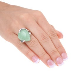 Glitzy Rocks Sterling Silver Pear-shaped Green Jade Ring