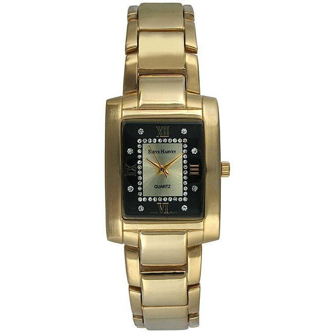 Steve Harvey Men's Gold Rectangular Black Dial Watch