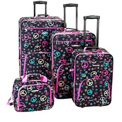 Rockland Designer Peace Sign 4-piece Luggage Set