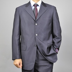 Men's Solid Black Three-button Suit