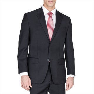 Carlo Lusso Men's Solid Black Two-button Suit