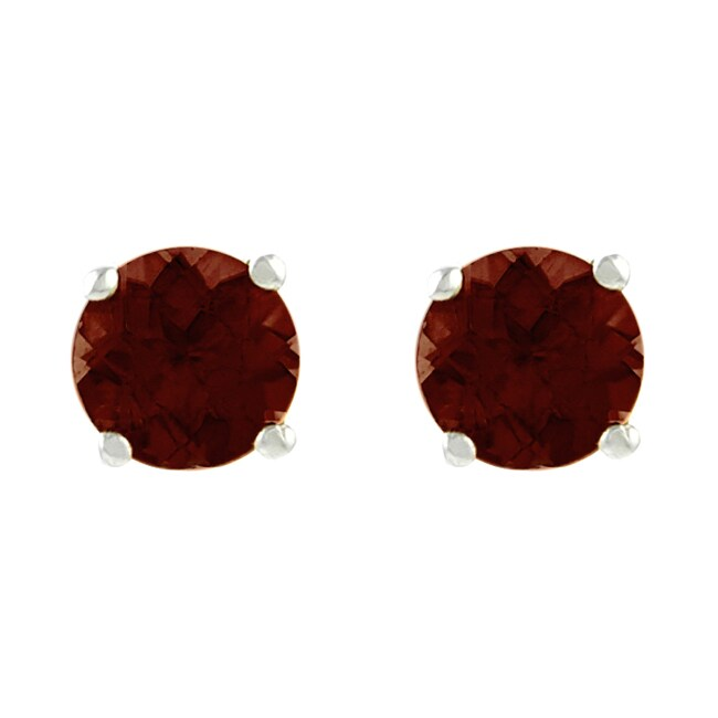 Journee Collection Sterling Silver Garnet 6 mm Round Stud Earrings