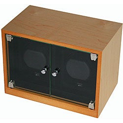 Double Maple Wood Watch Winder with Glass Doors AC/DC Adapter