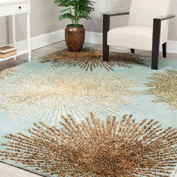 Safavieh Handmade Soho Burst Blue New Zealand Wool Rug (3'6 x 5'6)