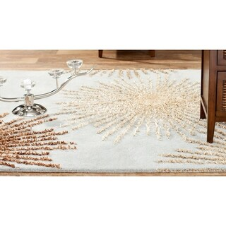 Handmade Soho Burst Blue New Zealand Wool Rug (3'6 x 5'6)