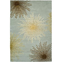 Handmade Soho Burst Blue New Zealand Wool Rug (6' x 9')