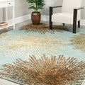 Handmade Soho Burst Blue New Zealand Wool Rug (6' x 9')