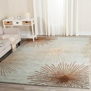 Handmade Soho Burst Blue New Zealand Wool Rug (7'6 x 9'6)