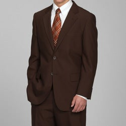 Carlo Lusso Men's Solid Brown Two-button Suit