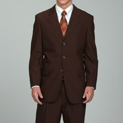 Carlo Lusso Men's Solid Brown Three-button Suit