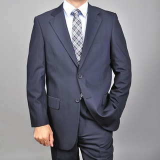 Carlo Lusso Men's Navy Blue Two-button Suit