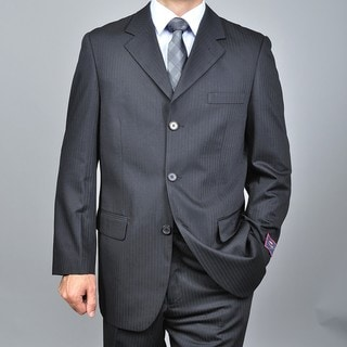 Carlo Lusso Men's Tonal Solid Black Three-button Suit