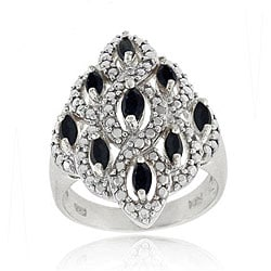 Glitzy Rocks Sterling Silver Sapphire Diamond Accent Ring