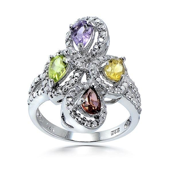 Glitzy Rocks Sterling Silver Multi-gemstone/ Diamond Accent Ring