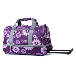 J World Purple Flowers 22-inch Expandable Carry On Rolling Upright Duffel Bag