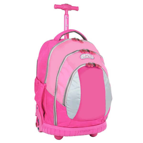 J World Kid's Pink Ergonomic Rolling Backpack
