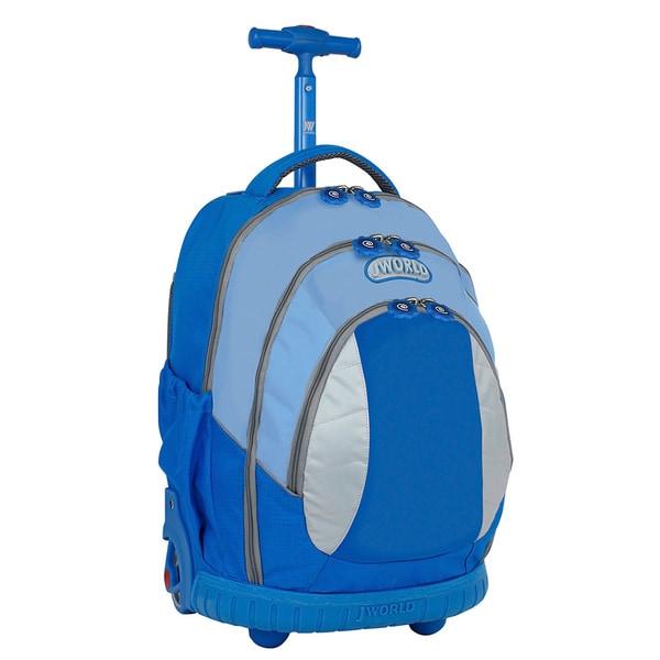 J World Kid's Ergonomic Sky Blue 17-inch Rolling Backpack