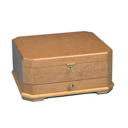 Light Wood Cut-corner Jewelry Collection Box with Suede Interior