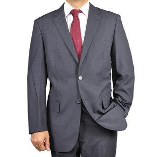 Carlo Lusso Men&#39;s Solid Charcoal Grey Two-button Suit
