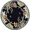 Safavieh Hand-hooked Roosters Black Wool Rug (5'6 Round)
