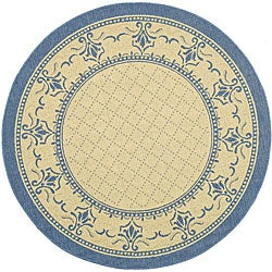Safavieh Indoor/ Outdoor Royal Natural/ Blue Rug (5'3 Round)