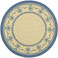 Indoor/ Outdoor Royal Natural/ Blue Rug (5'3 Round)