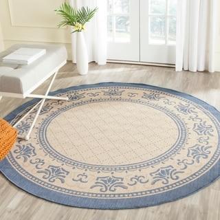 Safavieh Indoor/ Outdoor Royal Natural/ Blue Rug (5'3 Round)