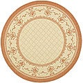 Indoor/ Outdoor Royal Natural/ Terracotta Rug (5'3 Round)