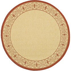 Safavieh Indoor/ Outdoor Oceanview Natural/ Red Rug (5'3 Round)