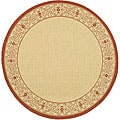 Indoor/ Outdoor Oceanview Natural/ Red Rug (6'7 Round)